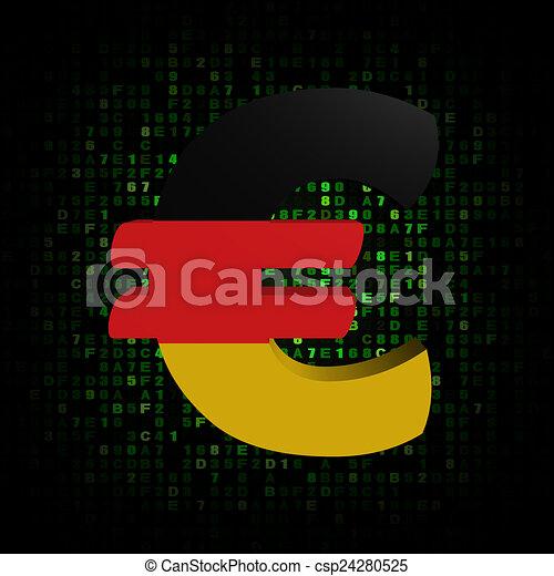Euro Symbol With German Flag On Hex Code Illustration