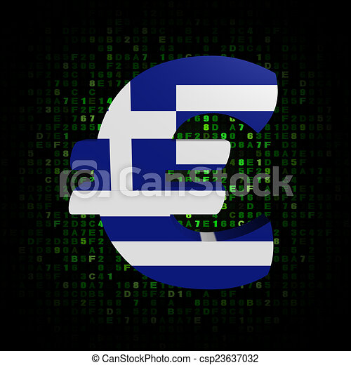 Euro Symbol With Greek Flag On Hex Code Illustration