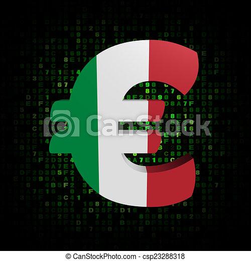 Euro Symbol With Italian Flag On Hex Code Illustration