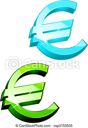 Euro Symbols Glossy Currency Symbols Of Euro For Design
