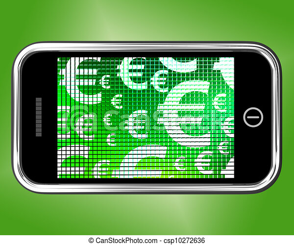 Euro Symbols On Mobile Screen Showing Money And Investment Euro
