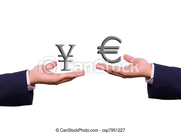 euro, tauschen, zeichen, hand, yen - csp7951227