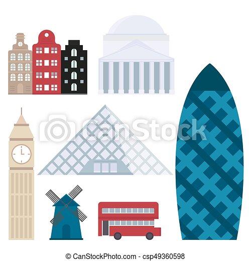 Euro trip tourism travel design famous building and euro adventure international vector illustration. - csp49360598