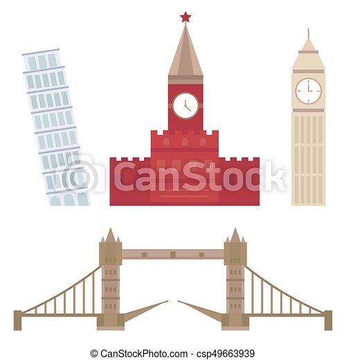 Euro trip tourism travel design famous building and euro adventure international vector illustration. - csp49663939