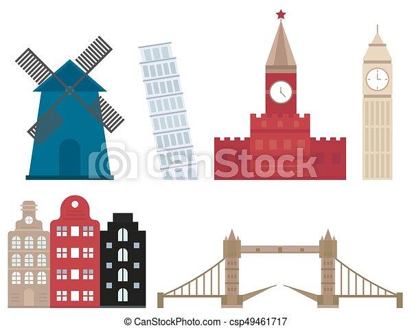 Euro trip tourism travel design famous building and euro adventure international vector illustration. - csp49461717