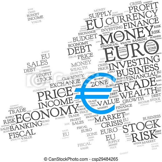 Euro Word Cloud With Symbol Of Currency Euro Word Cloud With Blue