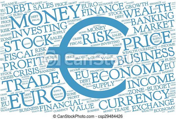 Euro Word Cloud With Symbol Of Currency Blue Text On White