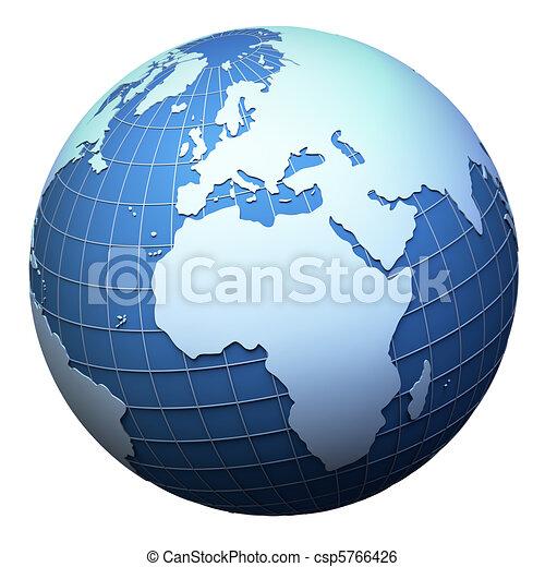 europa, áfrica, -, aislado, tierra de planeta, modelo, blanco - csp5766426