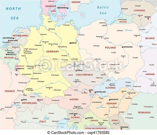 Europa Centrale Cartina.Europa Centrale Politico Mappa