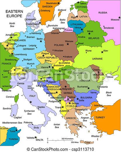 Cartina Europa Orientale Fisica.Europa Editable Paesi Nomi Orientale Mappa Vendite Individuale Disegno Nomi Web Sviluppare Costruire Lei Canstock