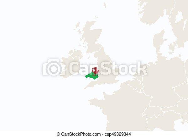 Europa, hervorgehoben, map., wales. Europa, illustration., map ...