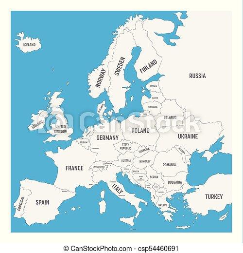 Europa Kaart Landen Hoogst Vector Vereenvoudigde Namen