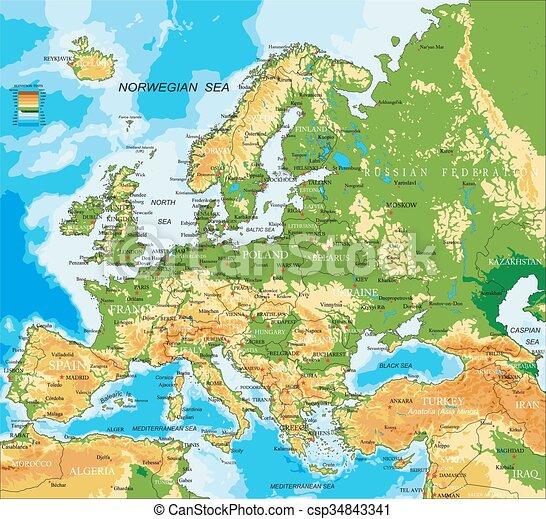 europa, kaart, lichamelijk, - - csp34843341