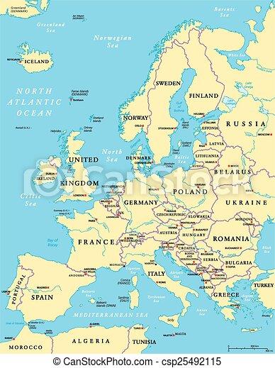 Kaart Europa Met Hoofdsteden