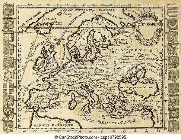 gammal karta europa Europa, karta, gammal. Europa, karta, datet, crests., maj, xviii  gammal karta europa