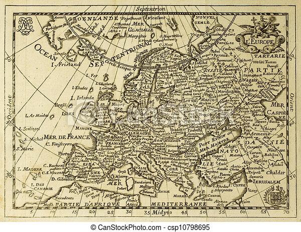 karta gammal Europa, karta, gammal, jämför, meridians., maj, sec., xvii  karta gammal