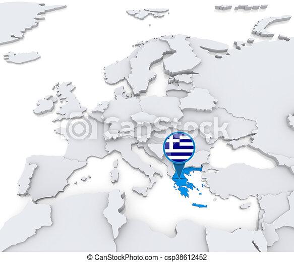 Karta Europa Grekland.Europa Karta Grekland Europa Karta Medborgare Markerad Flagga