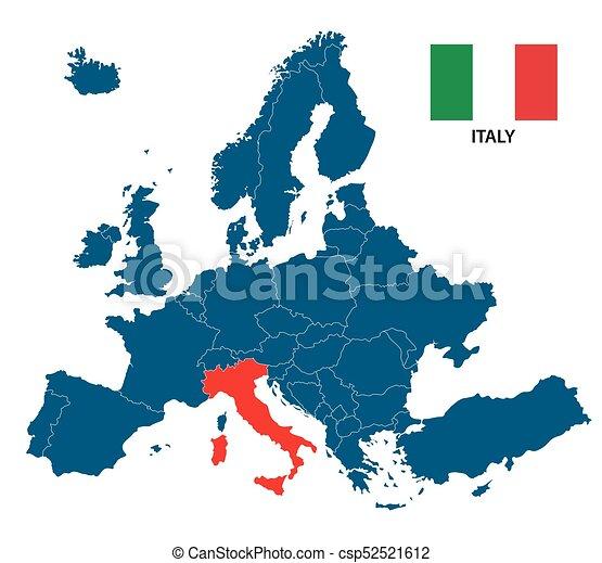 Europa Karta Italien Isolerat Illustration Markerad Flagga
