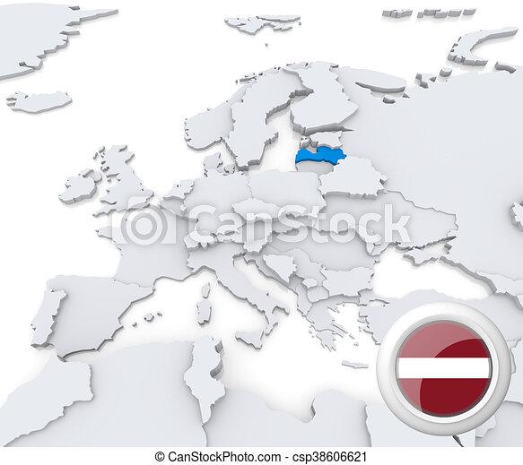 Lettland Karta Europa.Europa Karta Lettland Europa Karta Medborgare Markerad Flagga