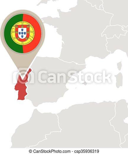 Karta Europa Portugal.Europa Karta Portugal Europa Karta Flagga Markerad Portugal