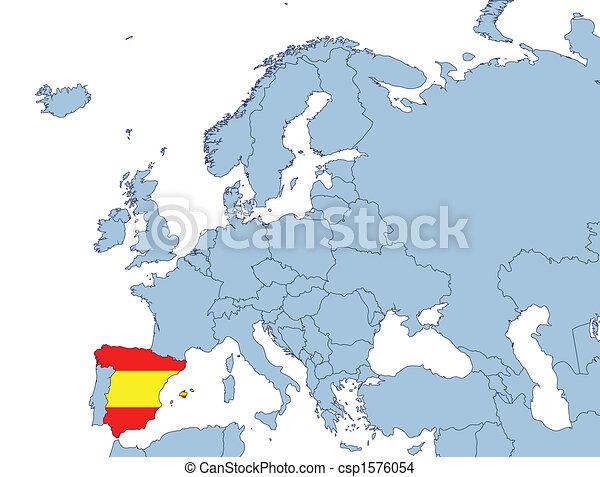 Karta Italien Spanien.Europa Karta Spanien Illustration