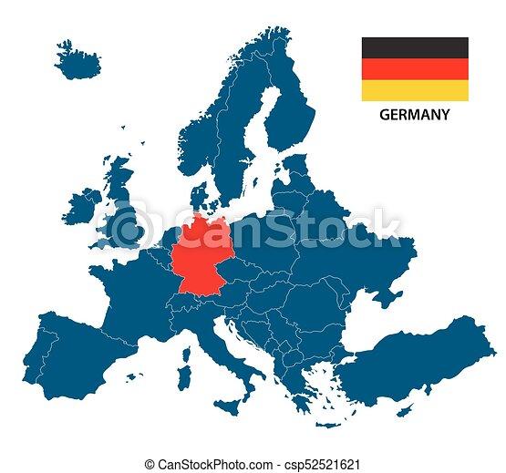 Europa Karta Tysk Isolerat Illustration Markerad Flagga