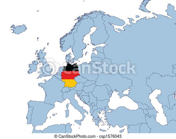 Europa Karta Tyskland Illustration
