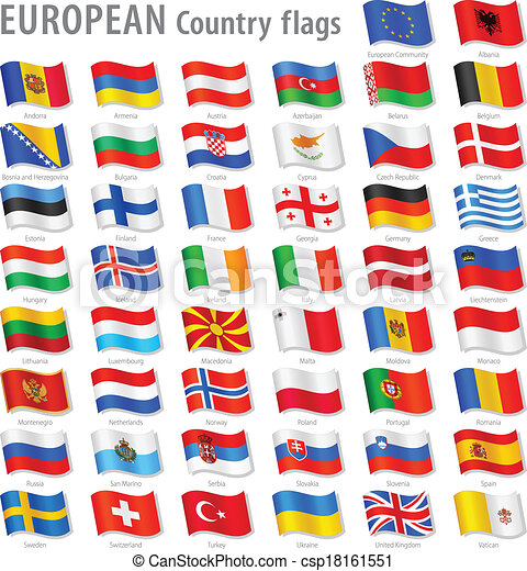 europa, krajowy, wektor, komplet, bandera - csp18161551