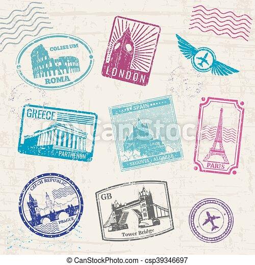europa, länder, resa, landmarks., kollektion, frimärken, vektor - csp39346697