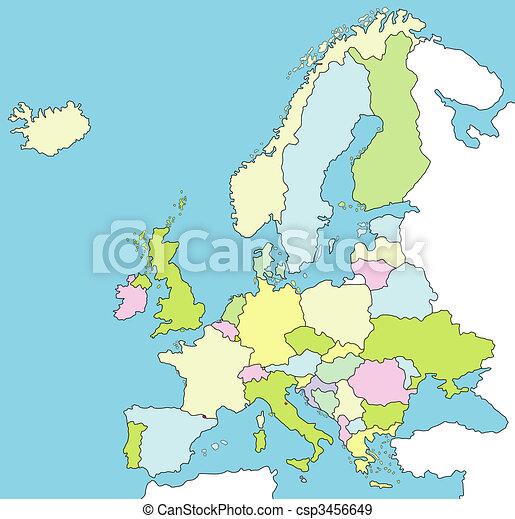 europa landkarte verschieden alles umrissen