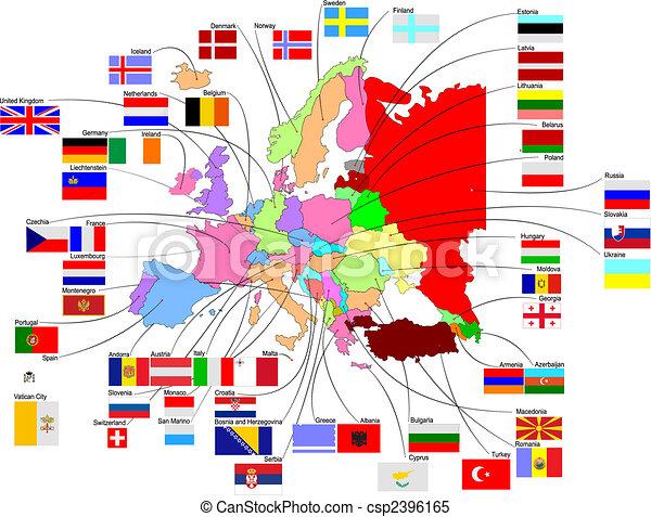 europa, mapa, bandery, kraj - csp2396165