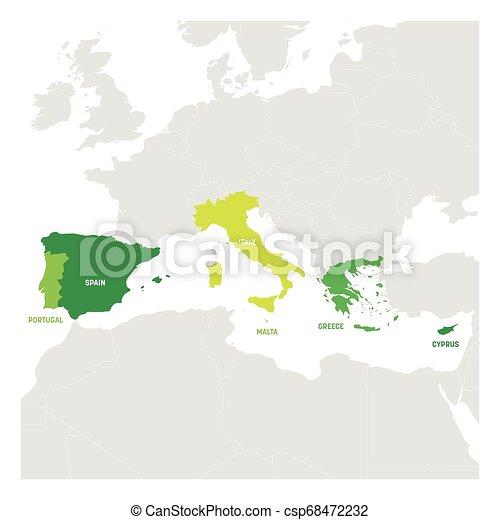 Europa Meridionale Cartina.Europa Mappa Intorno Paesi Mediterraneo Meridionale Region Illustrazione Vettore Sea Sud Europa Mappa Intorno Canstock