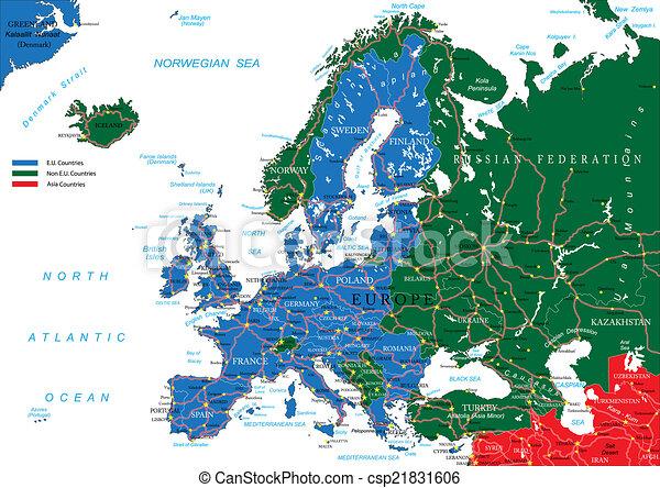 europa, mappa, strada - csp21831606