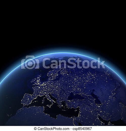 Vista nocturna de Europa - csp8540967
