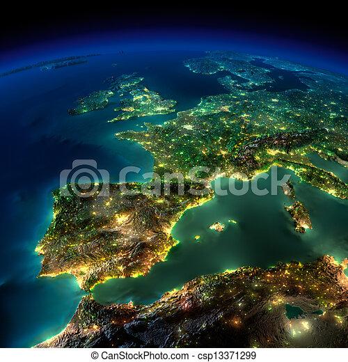 europa, pezzo, portogallo, -, francia, notte, spagna, earth. - csp13371299