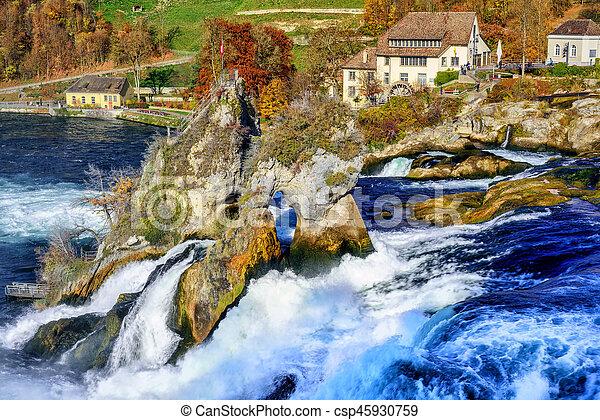 Waterval Rijn Zwitserland.Europa Rijn Dalingen Waterval Grootste Zwitserland