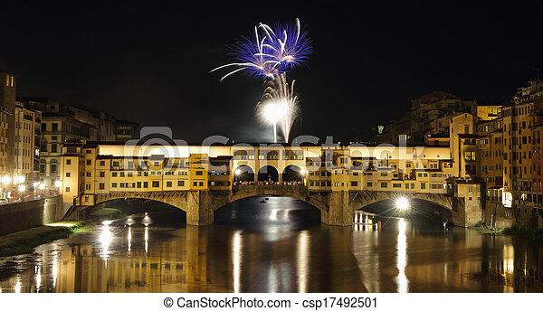 europa, san, ponte, giovanni, encima, fuegos artificiales, toscana, vecchio, junio, italia, florencia, 24th, río arno, banquete - csp17492501