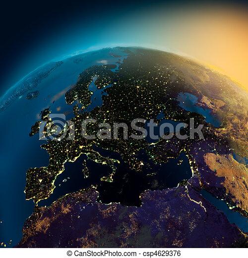 Europa Satelita Patrza Noc Europa Satelita Swiatla Jarzacy