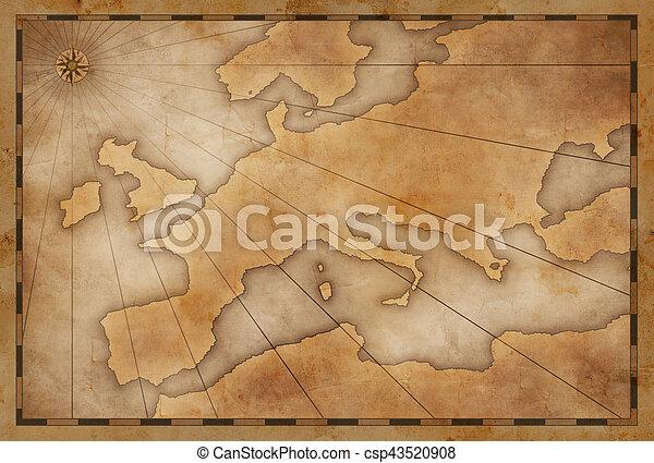 Antecedentes de mapas antiguos de Europa - csp43520908
