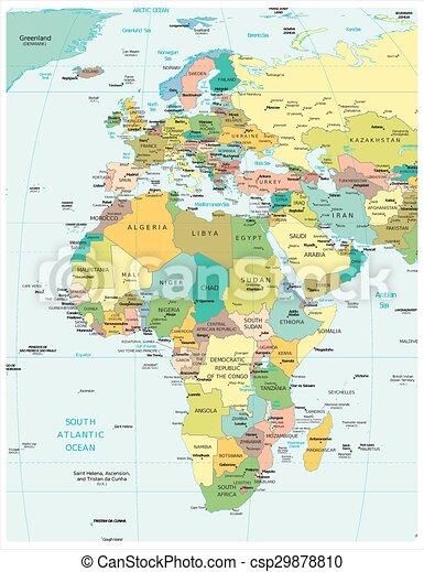 Carte Afrique Europe.Europe Afrique Politique Carte