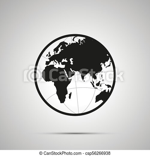 Europe and africa side of world map on globe simple black icon with europe and africa side of world map on globe simple black icon csp56266938 gumiabroncs Images