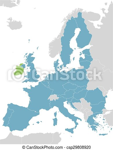 Europe and European Union map with indication of Ireland - csp29808920