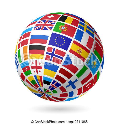 europe., bandeiras, globe. - csp10711865