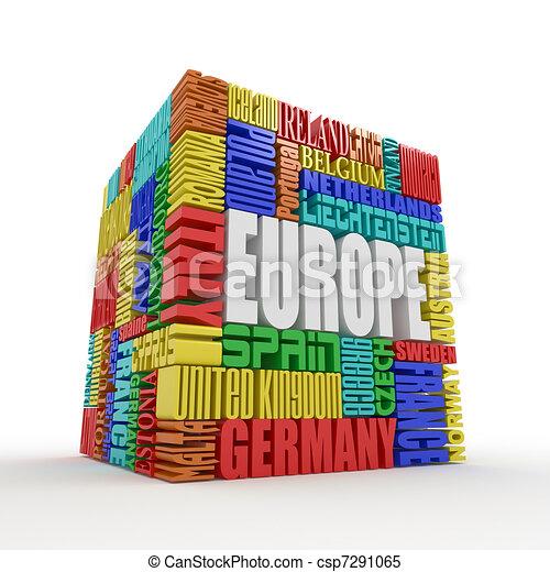 Europe. Box from name of european countries - csp7291065