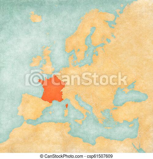 Europe, carte, -, france. Europe, carte, grunge, aimer, vendange, france,  aquarelle, papier, vieux, painting., doux, style.   CanStockCan Stock Photo