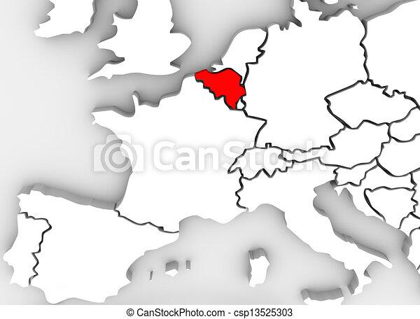 Carte Belgique Espagne.Europe Carte Pays Resume Illustre Belgique Continent 3d