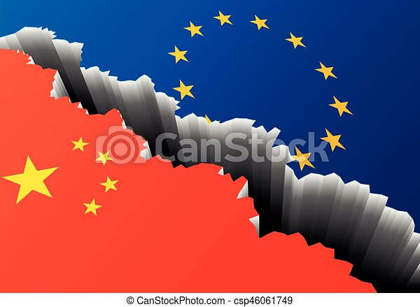 Europe China Deep Crack Detailed Illustration Of The European And