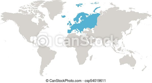 Europe continent blue marked in grey silhouette of world map simple europe continent blue marked in grey silhouette of world map simple flat vector illustration gumiabroncs Images