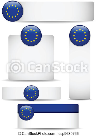 Europe Country Set of Banners - csp9630766