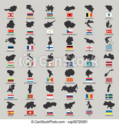 Europe country territories with flag - csp36720281